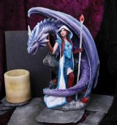 Dragon and Mage Fantasy Sculpture Mythical Statue Figurine or Gothic Gift
